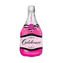 Mylar Foil Helium Party Balloon Decoration - Magenta Pink Champagne Bottle  - $11.99