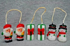 Christmas Hanging Candles 1.5 Inches Tall Santa Gift Snowman Set Of 3 - $20.00