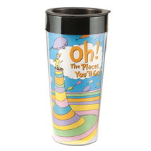 "Dr. Seuss ""Oh the places you'll go"" 16 oz Plastic Illustrated Travel Mug... - $11.60"
