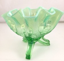 Dugan / Northwood green uranium ? Opalescent Daisy & Plume Footed Fan Vase - $64.35