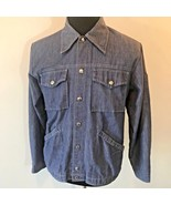 Vintage 1970s Chambray Snap Front Chore Shirt Jacket w Sleeve Pocket siz... - $24.95
