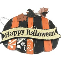 "Halloween Wooden Slat Pumpkin Sign Burlap accent black orange 15""h x 16""... - $40.00"