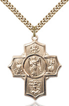 14K Gold Filled Warrior 5-Way Pendant 1 3/8 x 1 1/8 inch with 24 inch Chain - $153.46
