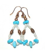 "CF115 ""Burnished Sky"" Sleeping Beauty Turquoise, Pearl & Copper Dangle E... - €17,16 EUR"