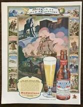 1947 Budweiser Beer Print Ad Beer is As Old As History Wonderful Illustr... - $12.69