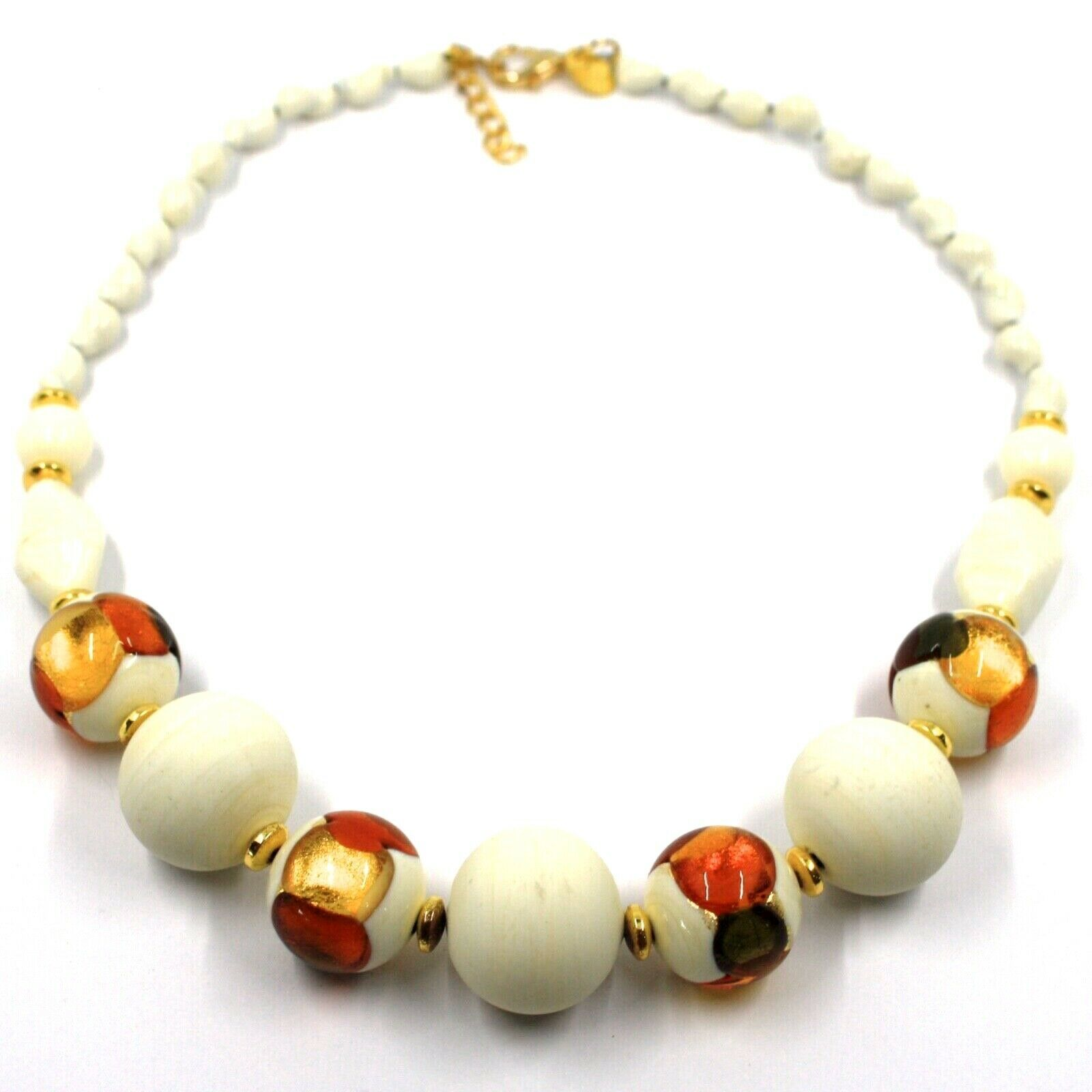 NECKLACE WHITE ORANGE MURANO GLASS SPHERE & GOLD LEAF, MADE IN ITALY, 42 cm