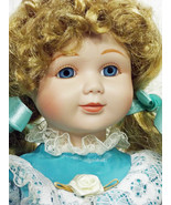 Doll Marion Yu Design Porcelain Beautiful in Blue Party Dress Great Xmas... - $59.99