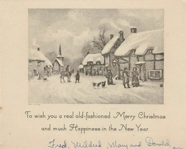 Vintage Christmas Card Village Street With Old Fashioned People - $7.91