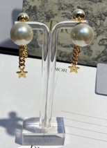AUTH CHRISTIAN DIOR 2020 J'ADIOR DOUBLE PEARL GOLD STAR DANGLE FINISH EARRINGS image 10