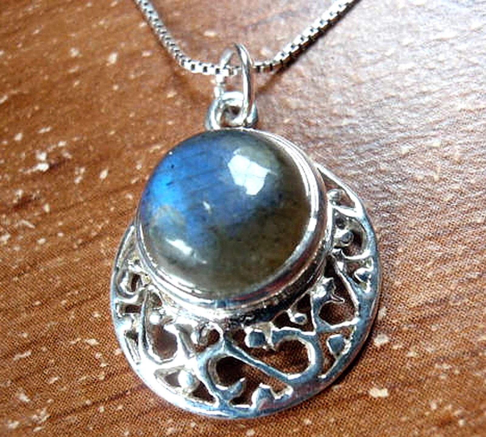 Primary image for Labradorite Filigree 925 Sterling Silver Necklace Round Circle New