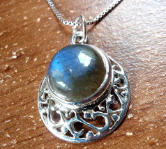 Labradorite Filigree 925 Sterling Silver Necklace Round Circle New - $17.77