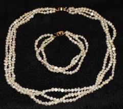 Freshwater Pearl Multi-Strand Necklace Bracelet Set Vintage Gold Tone - $49.49