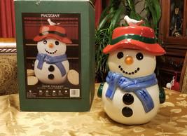 "Snowman Christmas Cookie Jar Pfaltzgraff Snow Village 14"" High x 9"" x 9"" - $24.99"