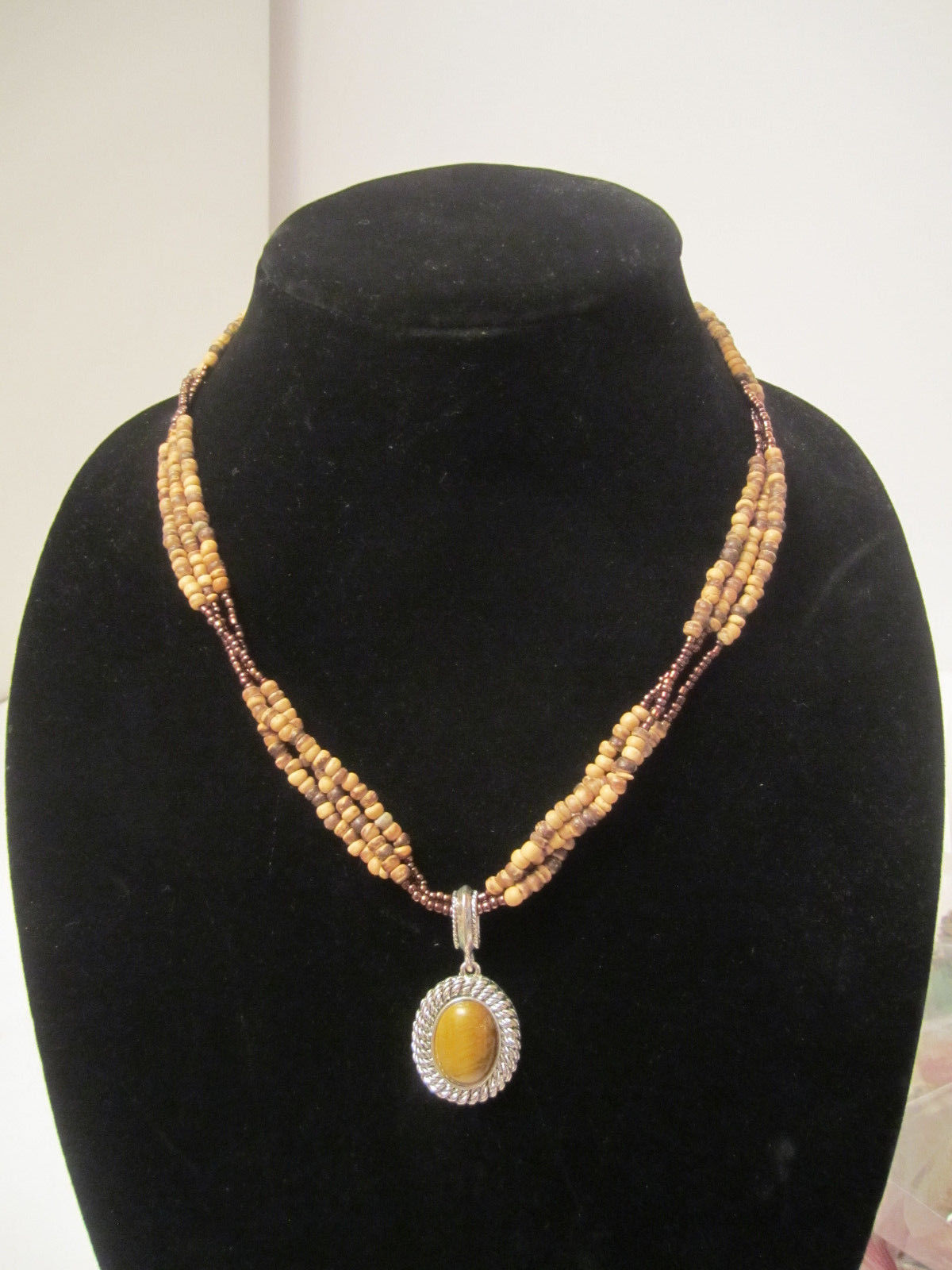 EUC Earthy & Elemental Avon Tiger's Eye Beaded Necklace & Earrings Set  =K2