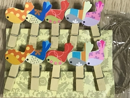 60pcs Colorful Birds Wood Clips,Paper Clip with Hemp Rope,Clothespin,Dec... - $11.50