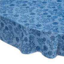 The Kathleen Vinyl Table Cover By Home-Style Kitchen-Blue-54x72-Oval - $17.74