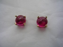 RUBY CABACHON EARRINGS IN 14KT GOLD 5MM ROUND - $69.25