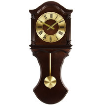 Bedford Clock Collection 27.5 Inch Wall Clock with Pendulum and Chimes i... - $113.36