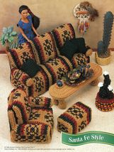 Southwest Santa Fe Sofa Chair Table Dream Catcher Cactus Barbie Crochet Patterns - $10.99
