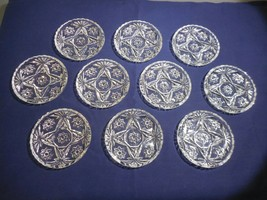 "Anchor Hocking Prescut Clear Lot of 10 Coasters Ash Trays 3 1/2""  Fan Star - $17.99"
