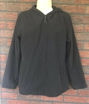 Lightweight Shell Black Small Suede Like Jacket Zipper Hood Pocket Jones... - $19.60