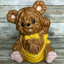 Vintage 1984 Brown Teddy Bear Ceramic Coin Piggy Bank Hand Painted - $43.99