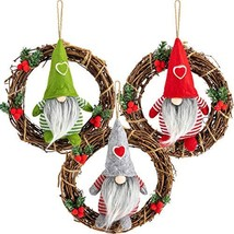 MADHOLLY 3 Pcs Handmade Swedish Tomte Santa Gnome Plush on Rattan Wreath... - $25.76
