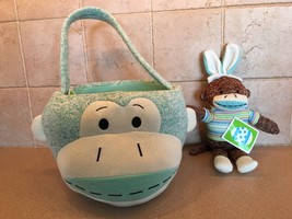 Sock Monkey 10 inch Plush Basket Teal and Sock Monkey Bunny - $27.89