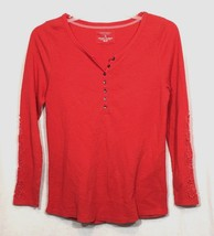 Sonoma L Large Shirt Top Waffle Knit Lace Long Sleeve Cotton Coral Pink Womens - $10.69