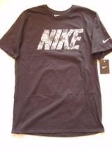 "NEW Mens Nike Black Cotton Athletic Cut T-Shirt Gray Camo ""NIKE"" AJ2143-010 Sz L - $14.99"