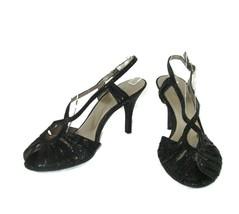 Nine West Shoes Black Strappy Snake Skin Open Toe Womens Size 8.5 Heeled  - $12.86