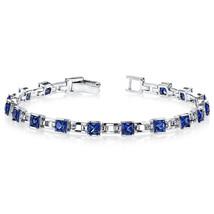 Women's Sterling Silver Princess Cut Blue Sapphire Tennis Bracelet - $229.99