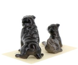 Hagen Renaker Dogs Pug Mama and Baby Black Ceramic Figurine image 6