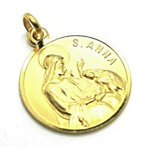 SOLID 18K YELLOW GOLD ROUND MEDAL, SAINT ANNE, ANNA & VIRGIN MARY, DIAM. 17mm image 2