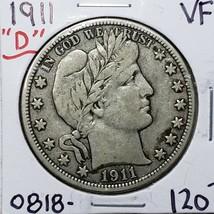 1911D Denver Mint Silver Barber Half Dollar Coin Lot A 179