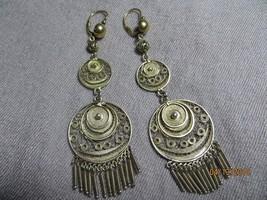Antique Georgian 1850-70's 10k top/GF 800 silver Filigree Dangle long Earrings - $295.00