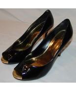 Anne Klein Black Patent Leather Peep Toe Heels Pumps 8 M 8M Womens Shoes - $26.97