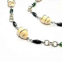 Necklace the Aluminium Long 90 Inch with Seashells Hematite Crystals Green image 3