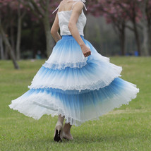 Blue Tiered Tulle Skirt Outfit High Waisted Long Tulle Skirt Holiday Tulle Skirt image 4