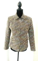 Sag Harbor Petite 4P Tweed blazer jacket zip front black pastel  - $14.85