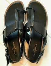 COLE HAAN 7 B BLACK LEATHER FLAT ANKLE STRAP T-STRAP TOE THONG SANDAL WO... - $39.59