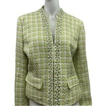Green Plaid Women's Blazer Jacket Size 12 Pearl Stone Bling Long Sleeve ... - $14.00