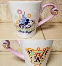 Disney World 45th Anniv Magic Kingdom Coffee Mug Pink Mickey Castle Fire Works - $11.63