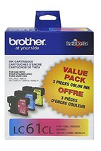 Brother LC61CL 3-Pack Ink Cartridge, 500 Page-Yield, Cyan Magenta Yellow - $60.34