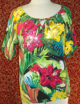 THOMAS & OLIVIA stretch cotton floral short sleeve tunic blouse PL (T2503C8G) image 1