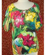 THOMAS & OLIVIA stretch cotton floral short sleeve tunic blouse PL (T250... - $10.28