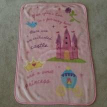 Disney Princess Pink Blanket Once Upon A Time Castle Princess Baby Girl ... - $39.55