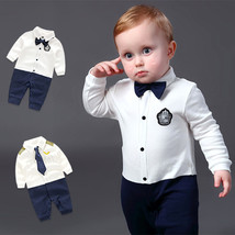 Handsome Baby Rompers Infant Newborn 0-18M Bow Romper Costume Cotton Tie... - $18.37 CAD+