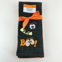 Halloween Kitchen Towels Set NWT orange black boo fun holiday spooky eyes - $10.75
