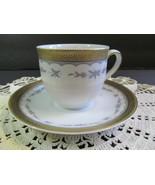 MITTERTEICH Bavaria Germany Demitasse Cup & Saucer Blue Floral Gold Rim - $17.82